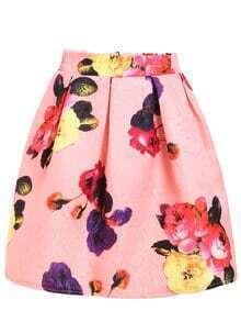 Bloom Print Box Pleat Skirt