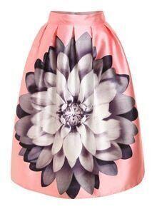 Oversized Flower Print Box Pleat Skirt