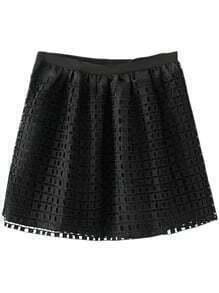 Black Zipper Grids Skirt With Lining