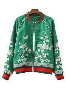 Green Long Sleeve Zipper Front Embroidery Jacket