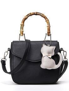 Bamboo Handle Bag With Cat Bag Charm - Black