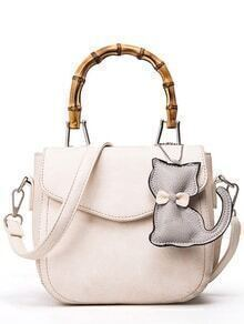 Bamboo Handle Bag With Cat Bag Charm - Beige