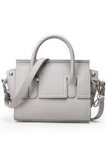 Embossed Faux Leather Trapeze Bag - Grey