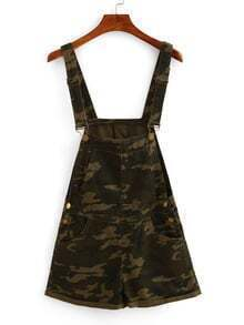 Camouflage Print Cuffed Overall Romper