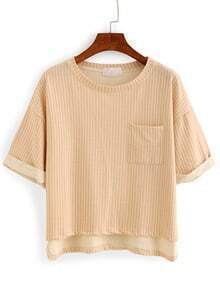 Vertical Striped High-Low Pocket T-shirt - Khaki
