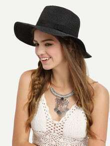 Ribbon Accent Straw Hat - Black