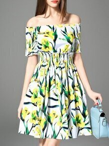 Green Off The Shoulder Elastic-Waist Print Dress