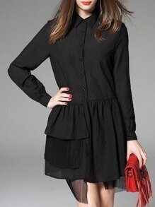 Black Lapel Ruffle Asymmetric Dress