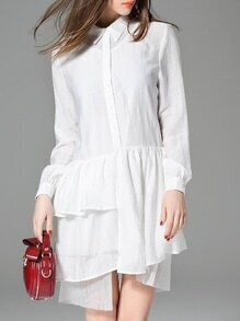 White Lapel Ruffle Asymmetric Dress