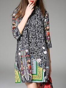 Black Tribal Print Shift Dress