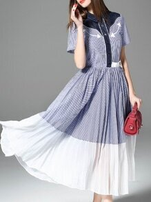 Blue Lapel Striped Contrast Denim A-Line Dress