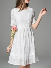 White Crew Neck Lace A-Line Dress