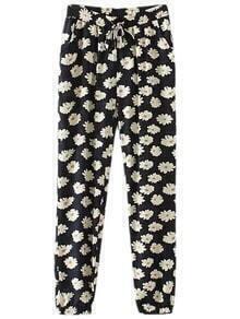 Multicolor Pockets Elastic Tie-waist Flowers Print Pants