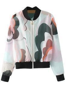 Multicolor Zipper Front Print Organza Sunscreen Jacket