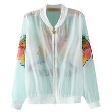 Multicolor Zipper Front Butterfly Print Sunscreen Jacket