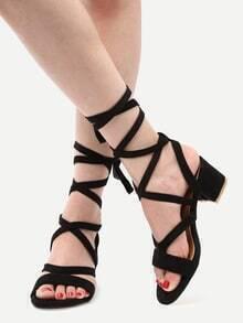 Black Faux Suede Lace Up Sandals