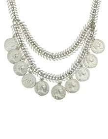 Silver Hanging Coin Necklace