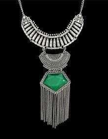 Green Gemstone Long Necklace