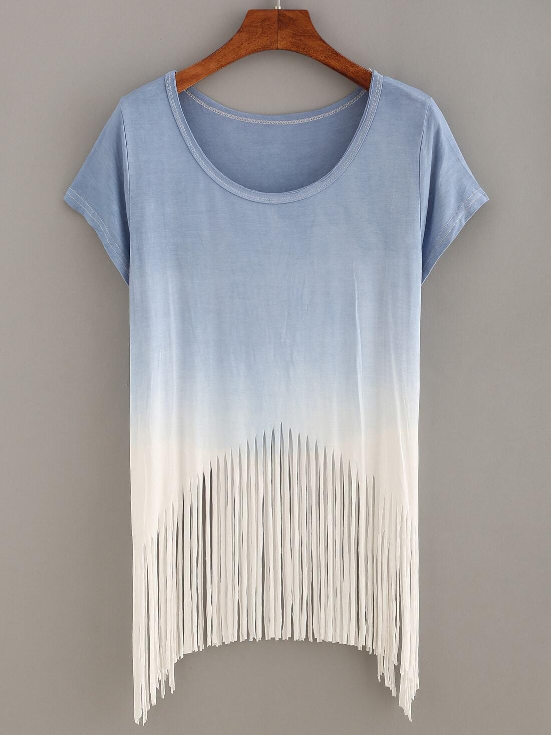 blue ombre fringe t shirtfor women romwe. Black Bedroom Furniture Sets. Home Design Ideas