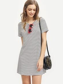 Striped Short Sleeve Sheath Dress