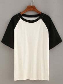 Camiseta manga corta casual -negro