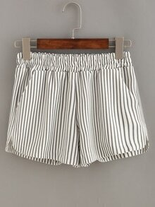 Vertical Striped Elastic Waist Shorts