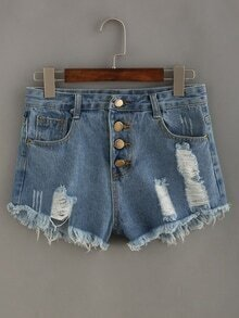 Frayed Buttoned Fly Light Blue Denim Shorts