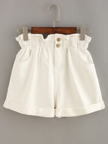 Ruffle Waist Rolled Hem White Denim Shorts