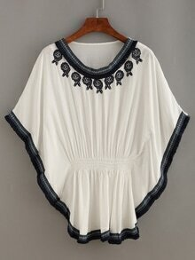 Embroidery Woven Tape Trimmed Poncho Blouse