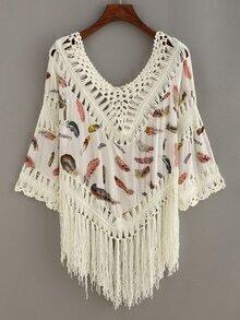 Feather Print Crochet Insert Fringe Blouse