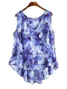 Blue Sleeveless Dip Hem Chiffon Floral Print Blouse