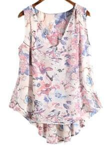 Pink Sleeveless Dip Hem Chiffon Floral Printed Blouse