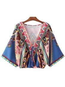 Multicolor Batwing Sleeve Tie-neck Tassel Print Blouse