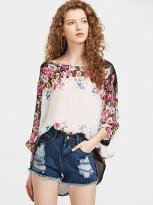 Blusa flor gasa poncho