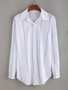 Revers Bluse langarm mit vertikalen Streifen -weiß