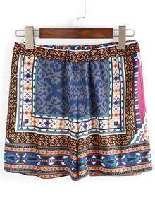 Tribal Print Elastic Waist Shorts