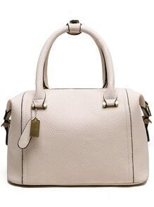 Embossed Faux Leather Structured Bag - Beige