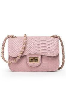 Faux Crocodile Embossed Leather Turnlock Flap Bag - Pink