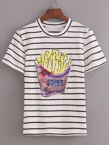 Striped Sequin French Fries T-shirt