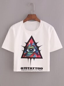 Triangle Eye Tattoo Print Crop T-shirt