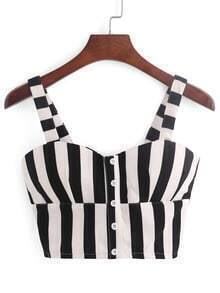 Vertical Striped Buttoned Front Shirred Wide Strap Top