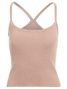 Strappy Ribbed Cami Top - Khaki