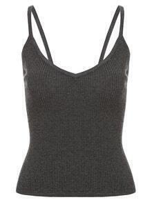 V-Neck Ribbed Cami Top - Dark Grey