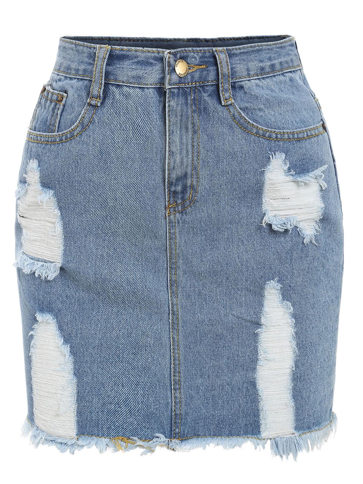 磨損的 牛仔布 鉛筆 裙子