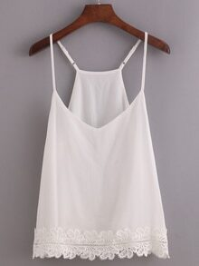 Lace Trimmed Racerback Cami Top