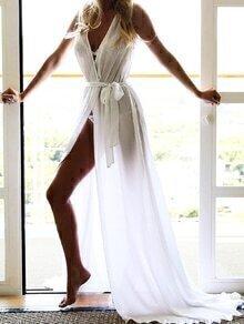 Self-Tie Wrap Maxi Dress