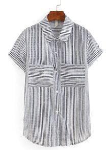 Striped Dual Pocket Short Sleeve Blouse