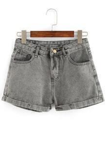 Rolled Hem Grey Denim Shorts