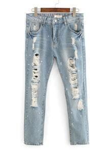 Distressed Splash Dot Jeans