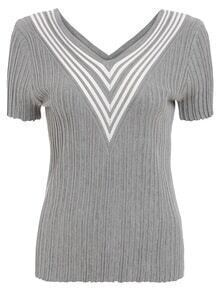 Striped V-Neck Knitted Short Sleeve Rib Top
